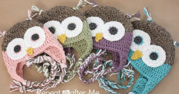 Repeat Crafter Me: Crochet Owl Hat Pattern in Newborn-Adult Sizes Free crochet