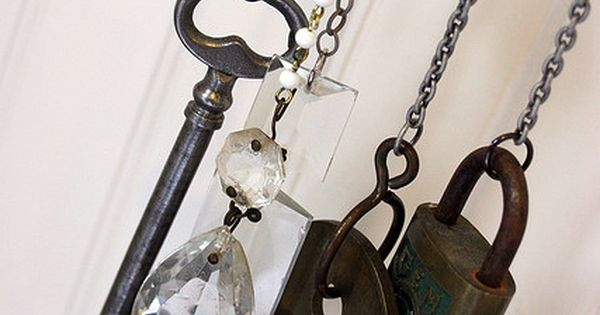 old key, crystal chandelier pieces and an old padlock windchime