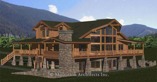 5 bedroom wrap around porch basement log cabin look for House plans with wrap around porch and pool
