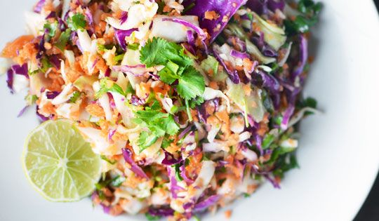 tricolor slaw with lime dressing