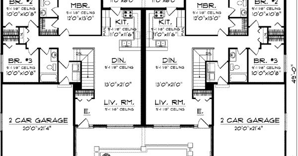 Duplex Country Style House Plans 2514 Square Foot Home