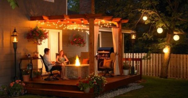 Dream Back Porch - the lights, the fire pit, the curtains. Maybe