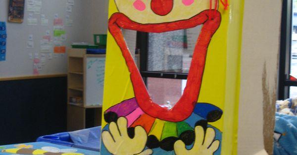 Clown Bean Bag Toss Cardboard Box Contact Paper Sharpie