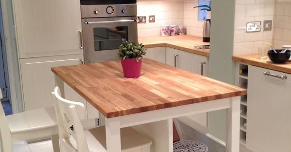 Butcher Block Island Perfect But With Stools And Seating