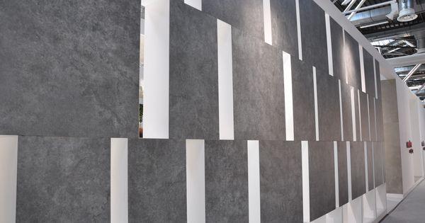 ariostea ultra pietre basaltina san vicente limestone 100x100 cm aussenfassade messestand. Black Bedroom Furniture Sets. Home Design Ideas