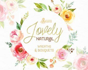 Belle Naturel Couronnes Et Bouquets Clipart Aquarelle Pivoine