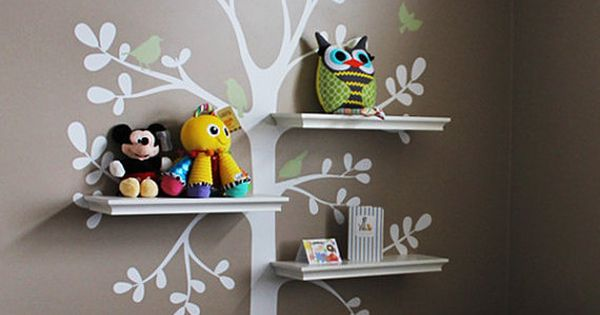 Wall Decals Baby Nursery Decor: Shelving Tree Decal with Birds - Original