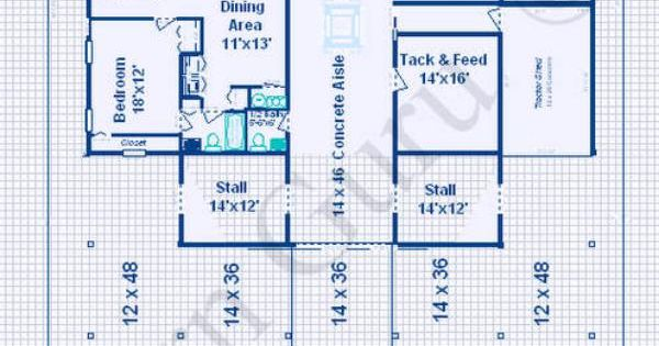 Horse Barn With Living Quarters Floor Plans: Open Area For Future Stalls