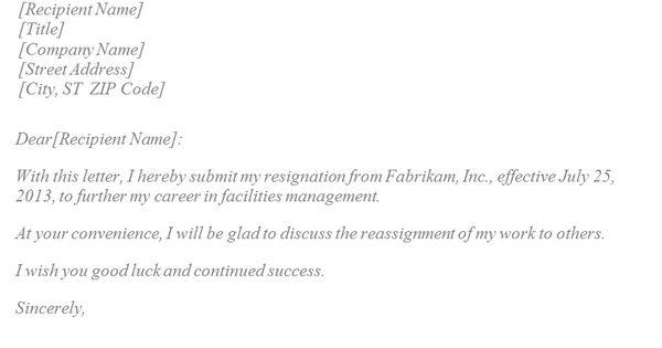 Basic Resignation Letter Tempalte Social Work Life