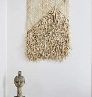 Woven Palm Leaf Wall Hanging 85x100cm Rustic Boho Tropical Natural Leaves Bamboo