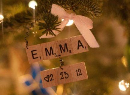 DIY Baby Craft Ideas - First Christmas Ornament made from Scrabble Letters