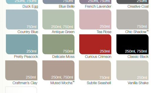 Dulux made by me colour chart satin paint girls for Paint charts for kitchens