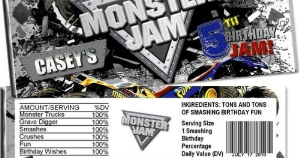 Monster Truck Jam Candy Bar Wrappers Party Favors ...