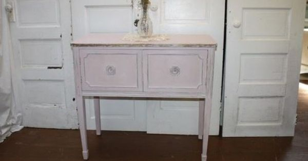 antique french petite sideboard server buffet painted light pink gold distressed antiques we. Black Bedroom Furniture Sets. Home Design Ideas