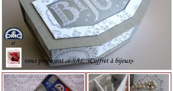 Sal boite a bijoux sur le blog dmc cartonnage carton for Boite a couture dmc