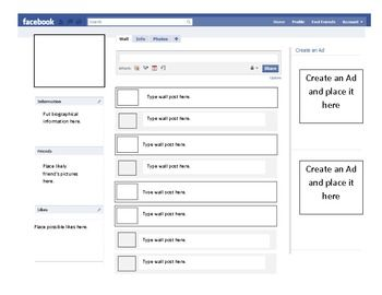Facebook Outline Template Facebook Profile Template Back To School Activities Problem Based Learning