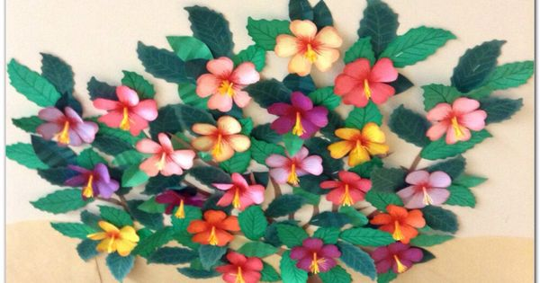 Tropical Paper Flowers For The School Bulletin Board