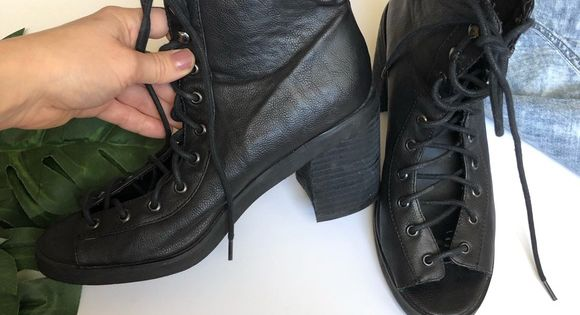 Uo Deena Ozzy Peep Toe Ankle Boots 8 Edgy Lace Up Ankle Boot In