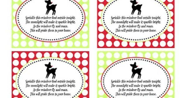 Reindeer food, Reindeer and Free printables on Pinterest
