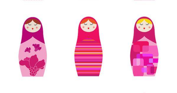 A4 PINK Matryoshka Russian Dolls giclee print fine art by malobi