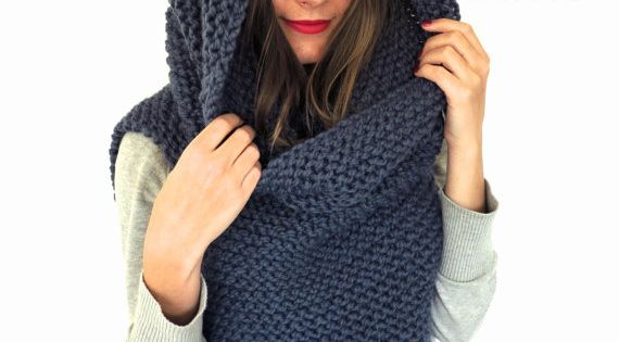 Chunky Soft Knit Poncho, Scarf, Cowl, Hood All in One // Armor