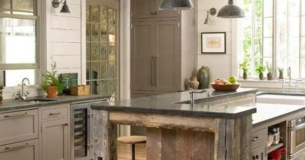 Rustic Kitchen Islands | Rustic Barnwood Furniture - Barnwood Kitchen Island -
