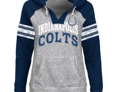 New York Giants Ladies Huddle III Pullover Hoodie - Steel/Royal Blue