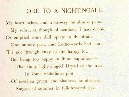 the life of john keats the author of the poem ode to a nightingale Ode to a nightingale by john keats ode to a nightingale learning guide by phd students from poetry / ode to a nightingale / modern life can be stressful.