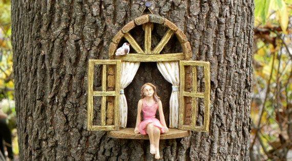 fairy garden accessoires fen tres assis fille et oiseau accessoire de jardin miniature f e. Black Bedroom Furniture Sets. Home Design Ideas