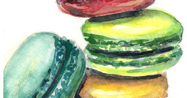 Macaron painting macaroon art watercolor painting kitchen art french decor. $45.00, via