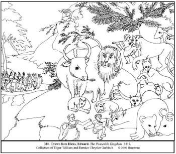 Hicks The Peaceable Kingdom Coloring Page And Lesson Plan Ideas
