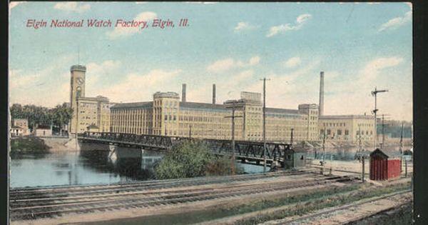 Old Pc Elgin Il National Watch Factory Elgin Elgin Illinois Illinois