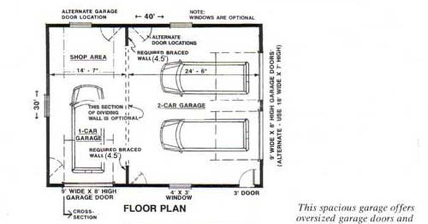 Two car garage with rear bay shop plan 1200 5 30 39 x 40 for 2 bay garage plans