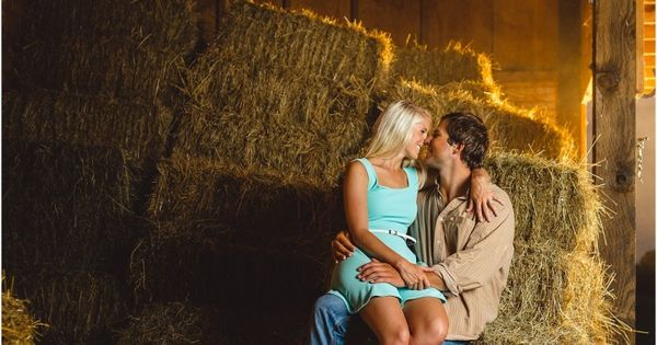 Farm engagement photos in a barn. Love this! Click to view more