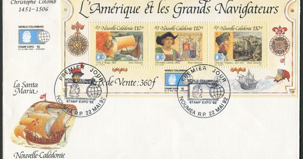 New Caledonia First Day Cover Scott C234 22 May 1992 Souvenir Sheet Of Three Stamps Erik The Red Chris Christopher Columbus Erik The Red First Day Covers