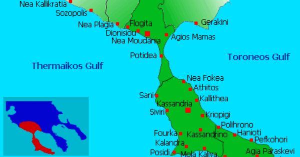 Map Of Kassandra Halkidiki Greece Halkidiki Greece Halkidiki Map