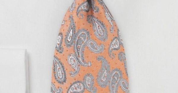 Necktie - Tangerine peach paisley silk tie - $18.90