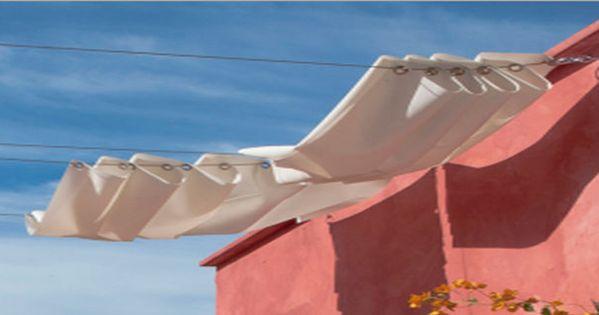 Pour fabriquer un brise soleil en toile installer sur la for Toile a tendre pour terrasse