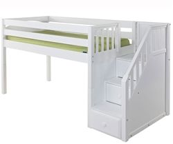 Maxtrix Great Low Loft Bed With Staircase White Finish In Twin