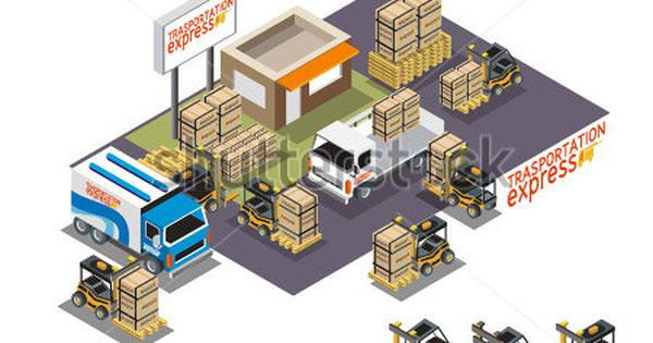 Vector Isometric Icon Set Representing Warehouse Building Truck