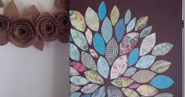 Wall Art with scrapbook paper scraps and mod podge onto a painted