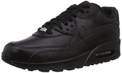 Nike Mens Air Max 90 Leather Running Shoes BlackBlack