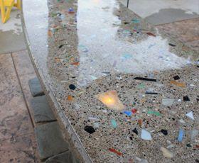 5050 Polyurea Concrete Counter Sealer Garagecoatings Com Recycled Glass Countertops Concrete Countertops Glass Countertops