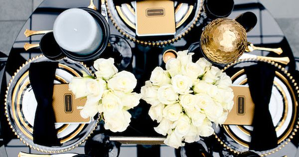 Black, white, gold table setting