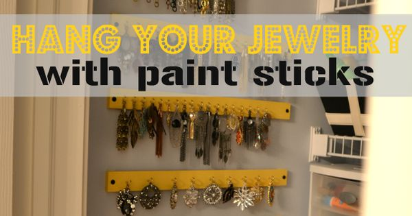 Paint stick jewelry storage; 20 Paint Stick DIY Projects and they awesome