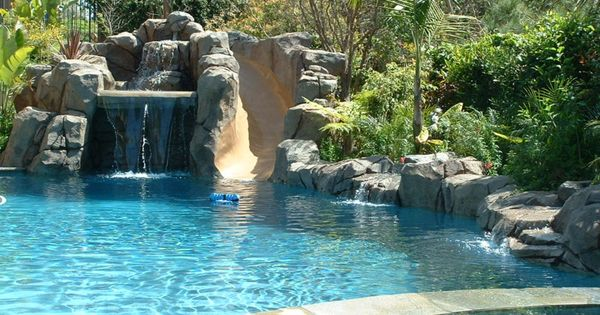 Waterfall and slide for pool pool design ideas for Artificial waterfalls design