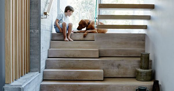 Love the under stair display platforms as part of the treads... |