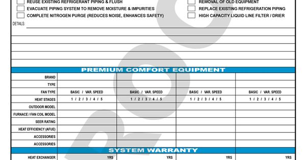hvac sales proposal contract  room for multiple units