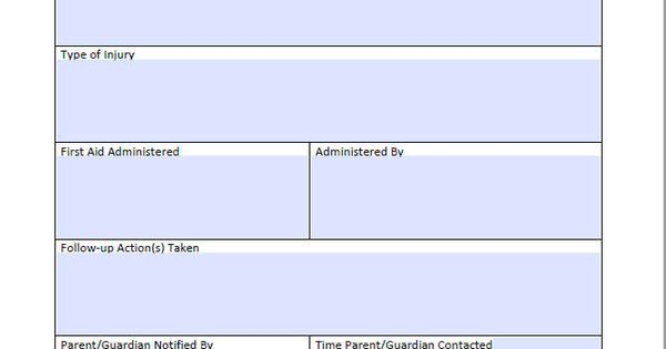 Incident and Injury Report Form for Child Care (Editable - injury incident report form template