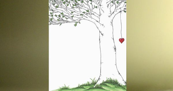 Shel Silverstein Wall Decal: The Giving Tree With Hanging Heart Fine Art By